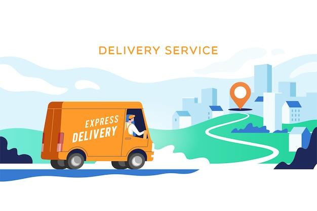 男性付きの速達トラックが小包をポイントで運んでいます。コンセプトオンラインマップ、追跡、サービス。