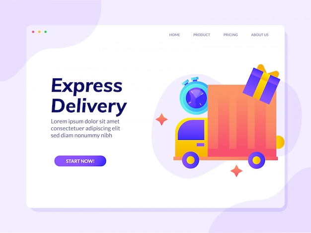 Express delivery website landing page