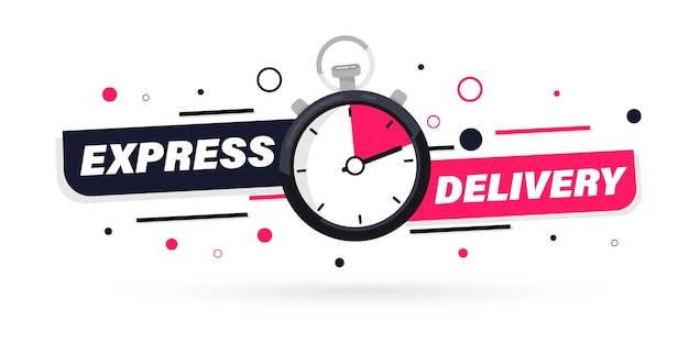 Express delivery with stopwatch icon for apps and website