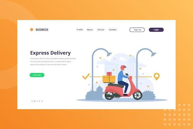 Экспресс-доставка иллюстрация для концепции доставки и доставки на целевой странице