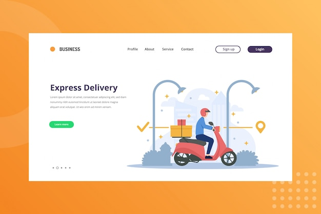 Express deliveryillustration for shipping & delivery concept on landing page