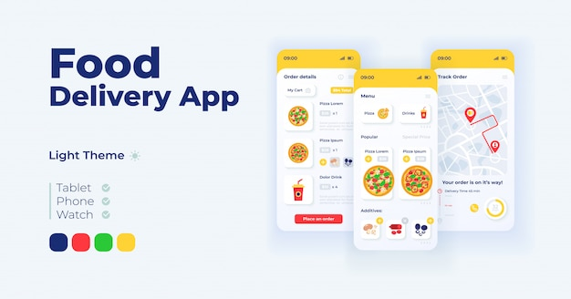 Express food delivery cartoon smartphone interface templates set
