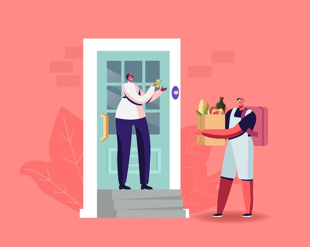 Express food delivery. courier character deliver bag with grocery to consumer at home