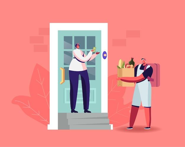 エクスプレスフードデリバリー。宅配便のキャラクターが自宅の消費者に食料品の入ったバッグを届けます