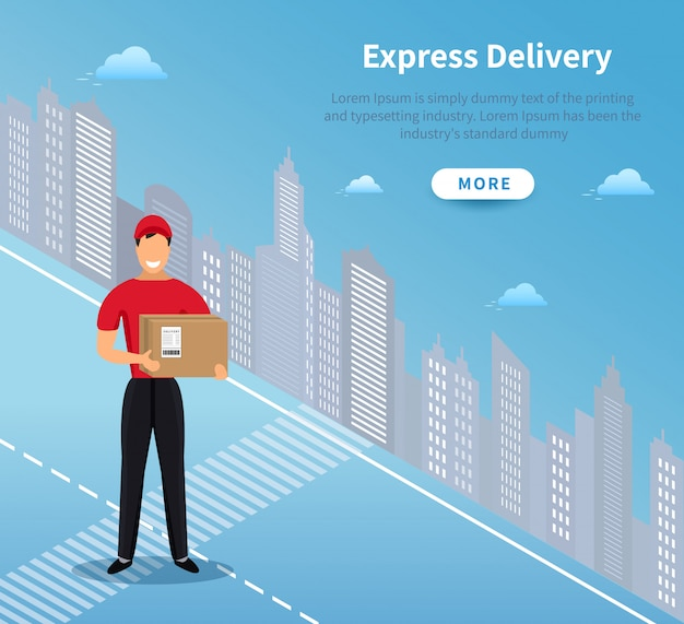 Express home delivery banner, courier man in red uniform holding parcel and standing in front city