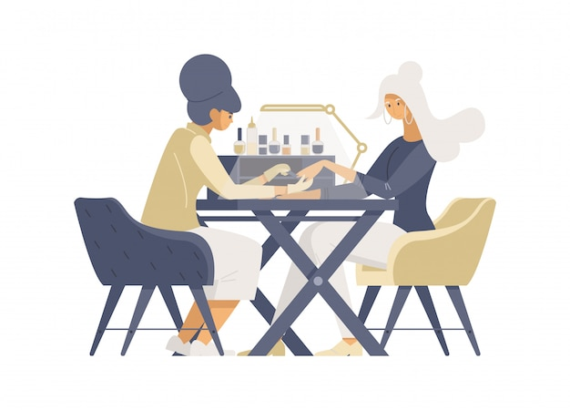 Express manicure service flat vector illustrations