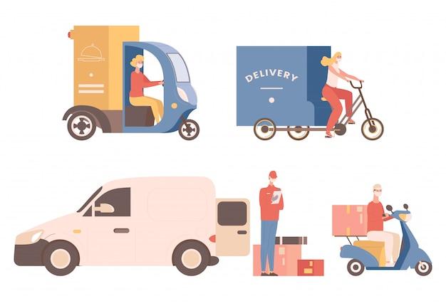 비접촉 배달 평면 그림을 표현하십시오. 의료용 안면 마스크를 쓴 사람들은 물건이나 음식을 배달하고 자전거, 스쿠터 또는 트럭을 타십시오. 빠른 배송, 온라인 주문 배송 개념.