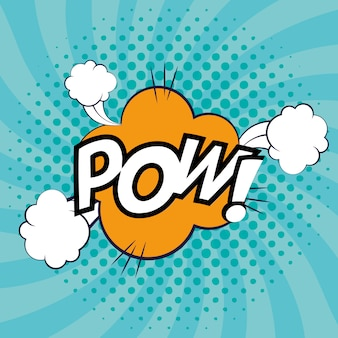 Expression bubble with pow pop art style