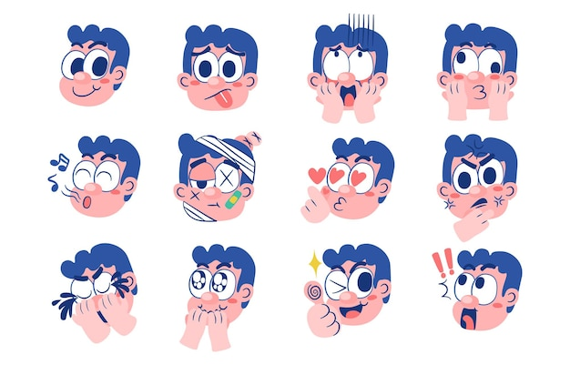 Expression of emotion concept set. cartoon illustration emotion face of human.