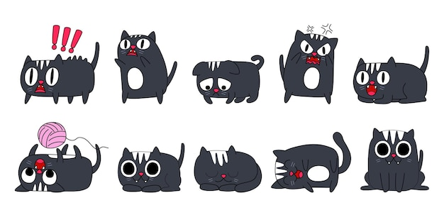 Expression of emotion concept set. cat character in diffetent animal emotions.