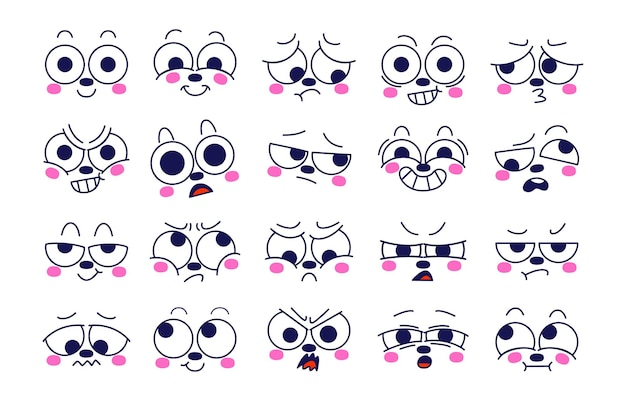 Expression of emotion concept set. face of character in diffetent emotions.