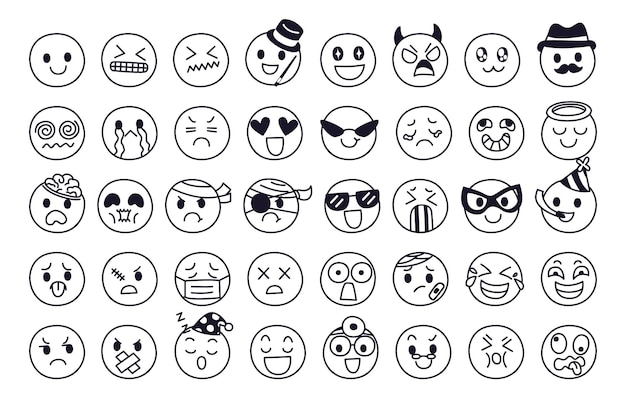 Expression of emotion concept set. face of emoji character in diffetent emotions.