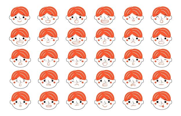 감정 개념 집합의 표현입니다. 인간의 만화 그림 감정 얼굴입니다.