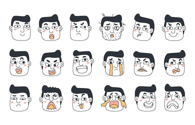 感情の概念セットの表現。人間の漫画イラスト感情顔。
