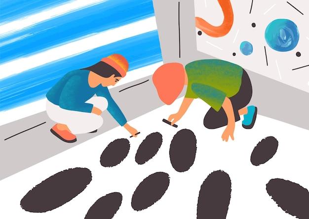 Expressionist artists working together flat vector illustration