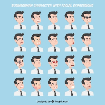 Expressions collection of businessman