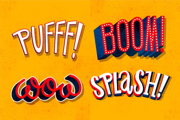 Expressions and onomatopoeias lettering collection in retro srtyle