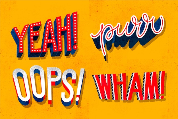 Expressions and onomatopoeias lettering collection