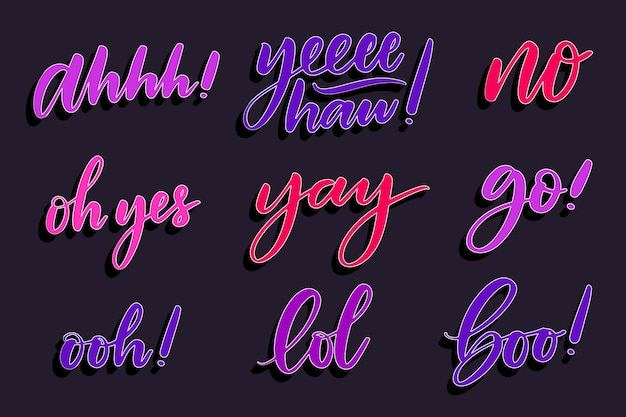 Expressions and onomatopoeias lettering concept