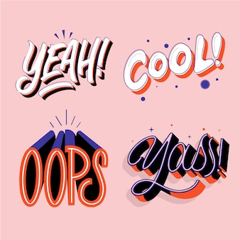Expressions and onomatopoeias lettering pack