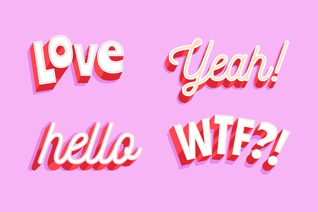 Expressions and onomatopoeias lettering
