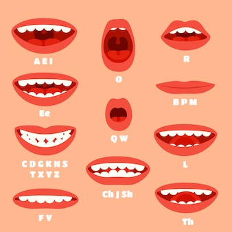 Expressive cartoon mouth articulation, talking lips animations.
