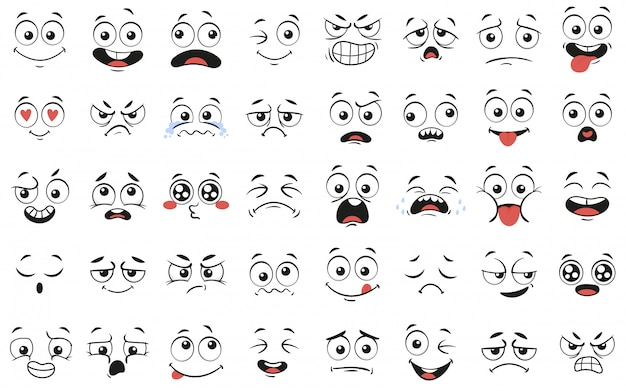 Expressive eyes and mouth, smiling, crying and surprised character face expressions vector illustration set