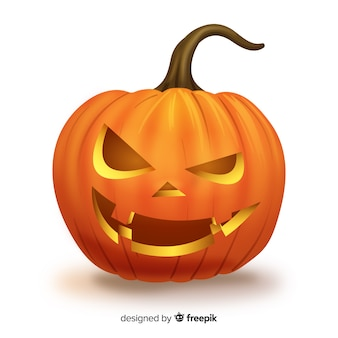 Expressive isolated halloween pumpkin