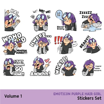 Expressive purple haired girl sticker asset set