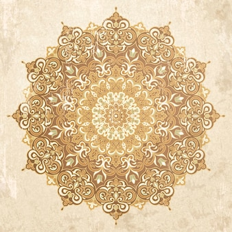 Exquisite arabesque pattern in beige and brown tone