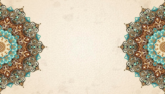 Exquisite arabesque pattern in brown and turquoise tone with copy space for design uses