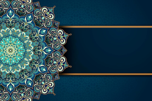 Exquisite arabesque pattern in green and turquoise tone with blank banner for design uses