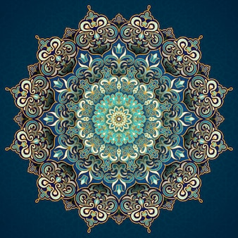 Exquisite arabesque pattern in green and turquoise tone