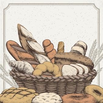 손으로 그린 스타일의 절묘한 빵집 배경 디자인