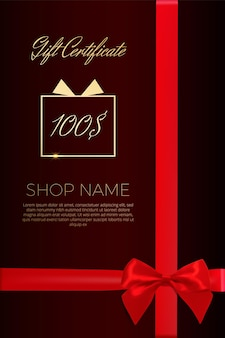 Exquisite design of a gift certificate with a golden font and a realistic satin bow