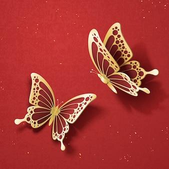 Изысканные золотые бабочки на красном фоне