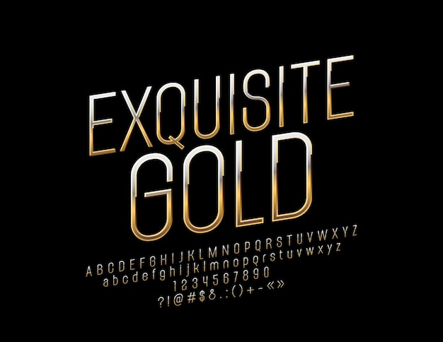 Изысканный золотой шрифт. элегантные буквы алфавита, цифры и символы