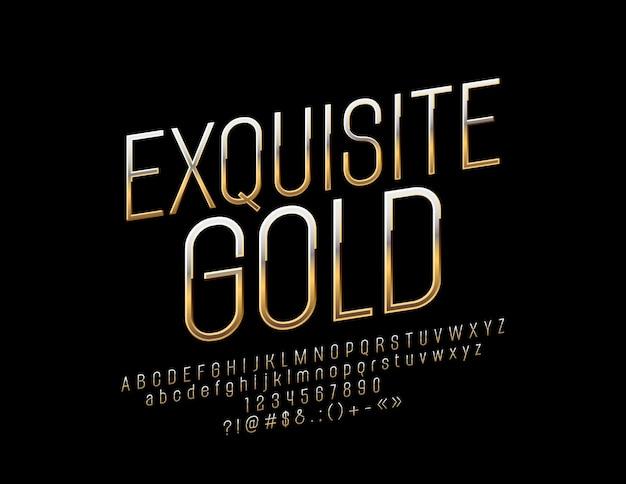 Exquisite golden font.  elegant alphabet letters, numbers and symbols