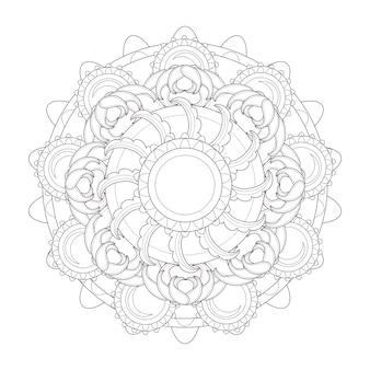 Изысканный дизайн узора мандалы в черно-белом