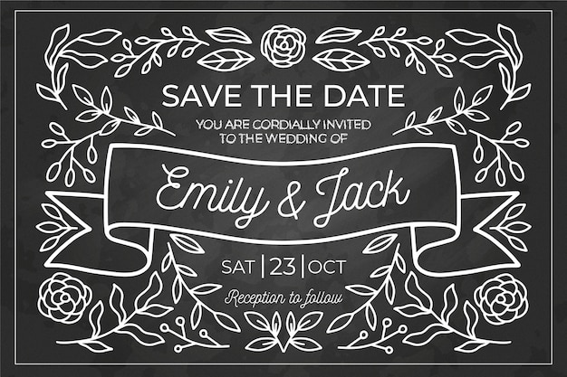 Exquisite vintage wedding invitation template on blackboard
