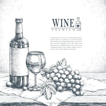 Изысканный плакат винодельни в реалистичном рисованном стиле
