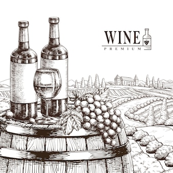 Exquisite winery poster  in realistic hand drawn style