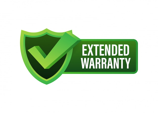 Extended warranty label or sticker. badge, icon, stamp.  illustration.