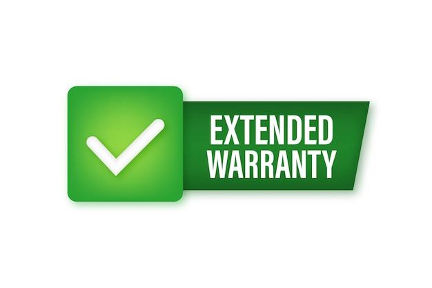 Extended warranty label or sticker. badge, icon, stamp vector illustration.