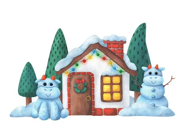 Exterior of a christmas house with decorations and snow bulls. illustration for the new year 2021