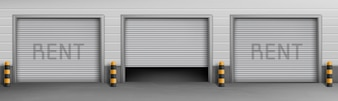 Exterior concept background with garage boxes for rent, storage rooms for car parking.