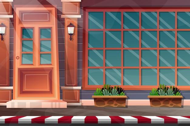 Facciata della casa di design esterno con porta di legno anteriore della casa di mattoni e lampada sul muro, finestra di vetro e pianta in vaso sulla strada laterale