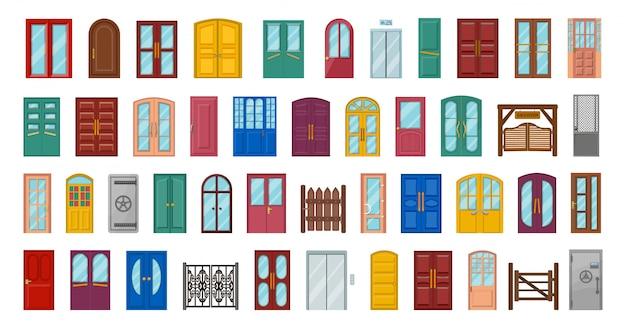 外装ドアは、白い背景の上の図を分離しました。漫画は戸口を設定します。漫画は、アイコンの入り口のドアを設定します。