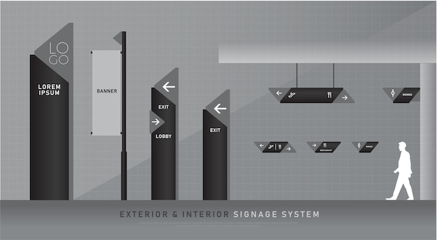 Exterior and interior signage blue graphic traffic signage system corporate identity