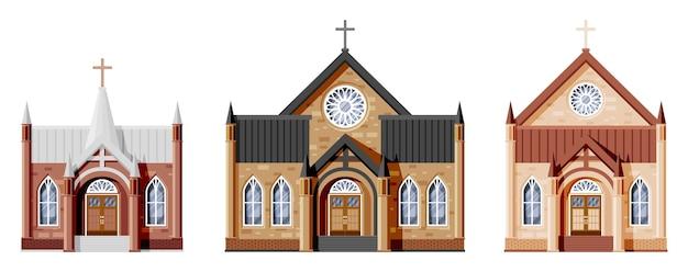 가톨릭 또는 개신교 교회 세트의 외관입니다. 고딕 양식의 작은 대성당의 컬렉션입니다. 고립 된 십자가와 타워와 예배당입니다. 교외 또는 마을 교회 개념입니다. 평면 벡터 일러스트 레이 션